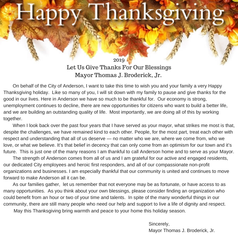 2019 Thanksgiving Message
